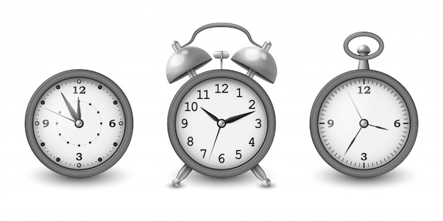 Watches and alarm clock collection in silver .  illustration.