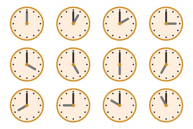 Watches with different times. clock  icons