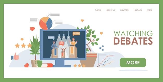 Watching debates vector flat web page template display with debate