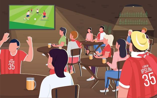 Наблюдая за футбольным матчем с плоской цветной иллюстрацией