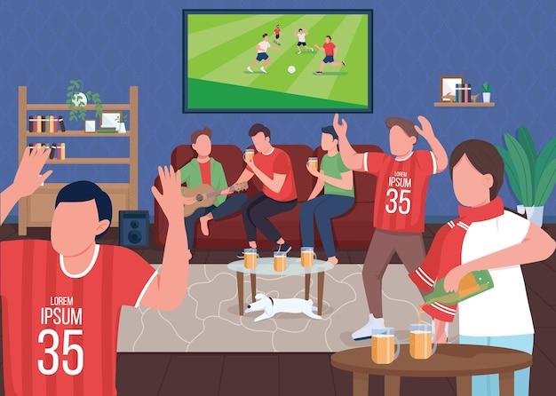 Просмотр футбольного матча с друзьями. плоская цветная иллюстрация. любители спорта. особое активное хобби. команда, победившая в матче. время с семьей.