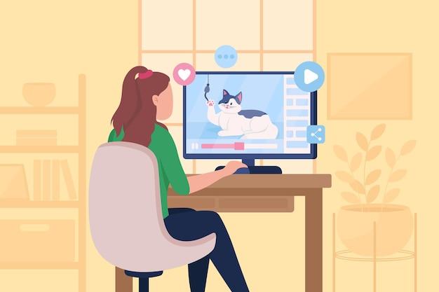재미있는 바이러스 성 고양이 비디오 평면 컬러 일러스트 시청