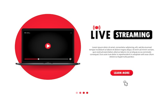 Watching live streaming on laptop illustration. online webinar, lesson, course. vector on isolated background. eps 10.