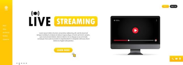 Просмотр прямой трансляции на компьютерной иллюстрации. онлайн-вебинар, урок, курс. пользователь социальных сетей.