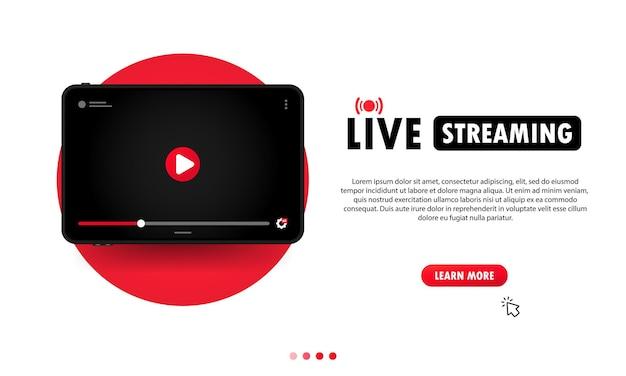 태블릿 일러스트레이션에서 라이브 스트리밍을 보고 있습니다. 온라인 웨비나, 레슨, 코스