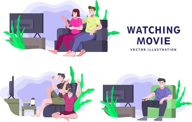 Watching movie - activity vector illustration