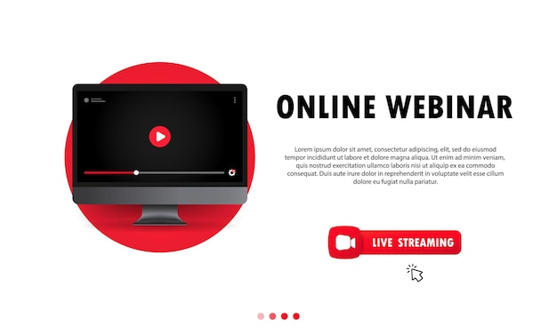 Watching online webinar on computer illustration. distance education. online lesson, lecture, training, course. vector on isolated background. eps 10.