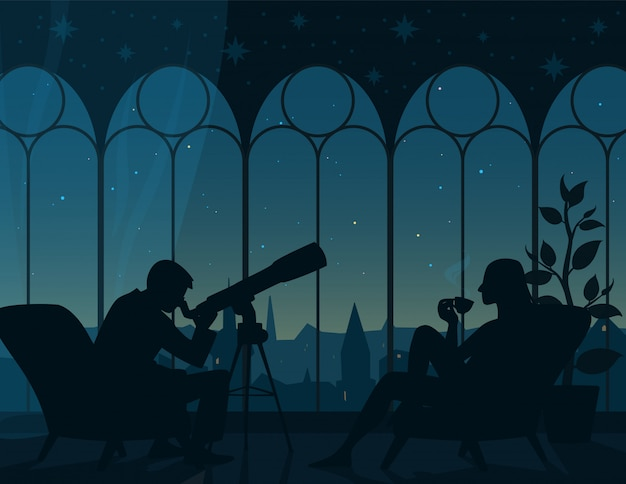 Watching stars at home.  illustration of interior of room with two armchairs, man looking through telescope, woman with cup of tea, panoramic view from arched windows to night starry sky of town