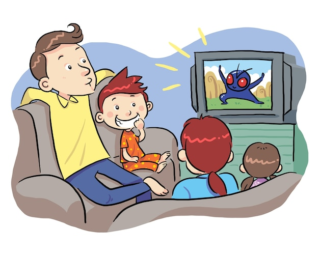 Watching tv with family