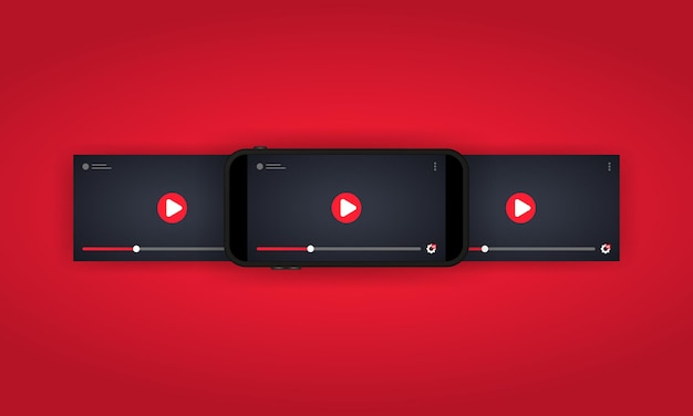 스마트 폰 일러스트레이션 또는 비디오 플레이어에서 비디오 시청. 모바일 스트리밍.