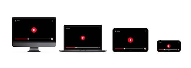 オンラインでビデオを見る。再生ボタン付きのコンピューターモニター、ラップトップ、タブレット、スマートフォンのディスプレイ。
