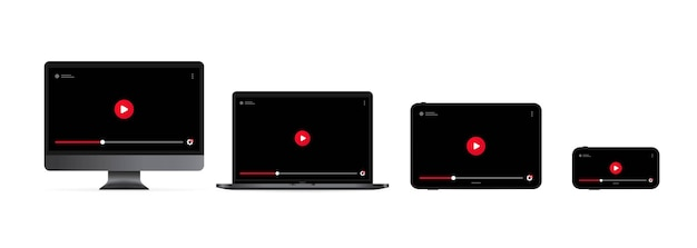 Watching video online. computer monitor, laptop, tablet and smartphone display with play button.
