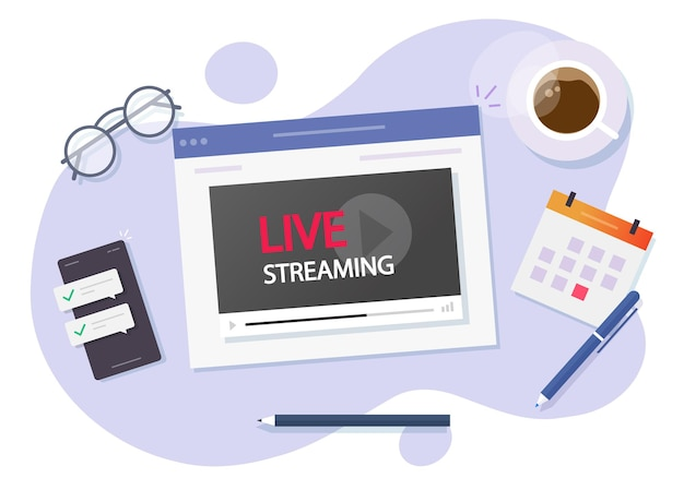 インターネットイラストのビデオオンラインライブストリーミングデジタル放送を見る Premiumベクター