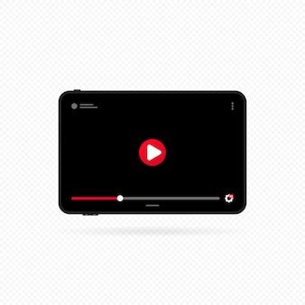 タブレットでオンラインでビデオを見る。一時停止ボタン。ストリーミング映画、ウェビナー、ライブビデオ。孤立した白い背景の上のベクトル。 eps10。