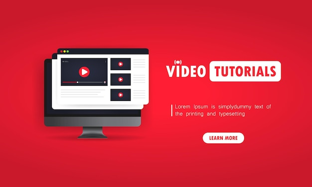 Watching video tutorials on computer illustration. studying online at home. online webinar, lectures, training. vector on isolated background. eps 10.