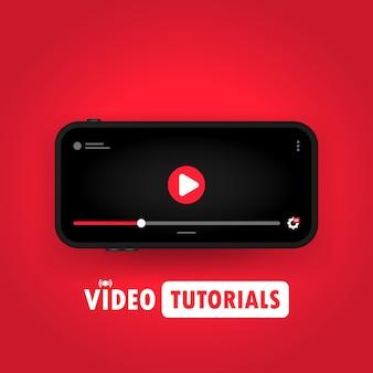 스마트폰 일러스트레이션에 대한 비디오 자습서를 보고 있습니다. 원격 교육. 온라인 웨비나, 과정, 교육. 격리 된 배경에 벡터입니다. eps 10.