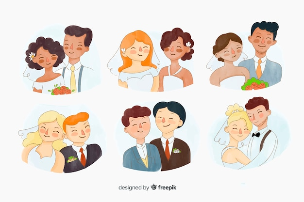 Watecolor wedding couple collection