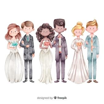 Watecolor коллекция свадебных пар
