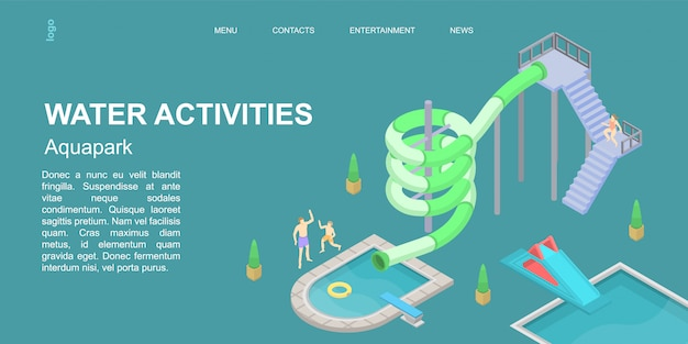Water activities concept banner, isometric style