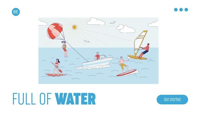 Water activities landing page for website Premium Vector