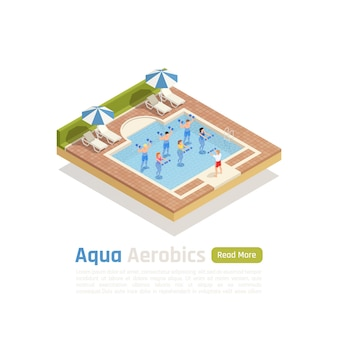 Allenamento di aerobica in acqua con composizione isometrica di pesi con lezione di allenamento in acqua nel banner della piscina all'aperto