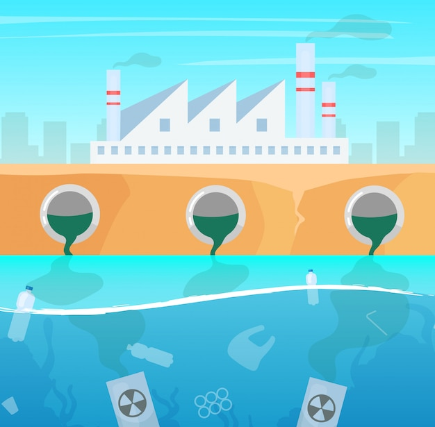 Water and air pollution   illustration. manufacture industry nature damage. ecological catastrophe. plastic garbage in ocean. sea contamination. industrial factory toxic pollutions