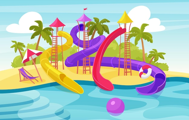 Water amusement park, cartoon aquapark summer resort with waterslides and pool