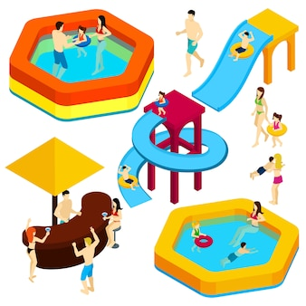 Water amusement park visitors isometric banner