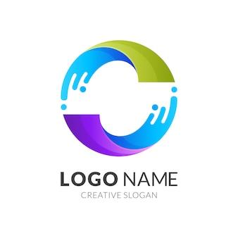 물과 원 로고 디자인, 화려한 로고