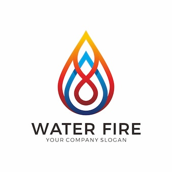 Дизайн логотипа water and fire