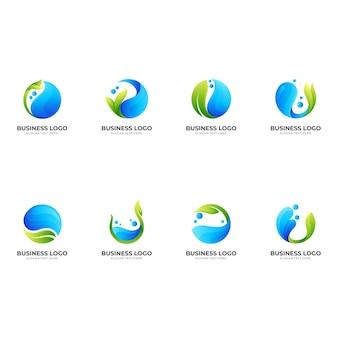 水と葉、3d緑と青のスタイルの組み合わせロゴ Premiumベクター