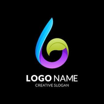 水と葉のロゴのコンセプト、モダンな3 dロゴ
