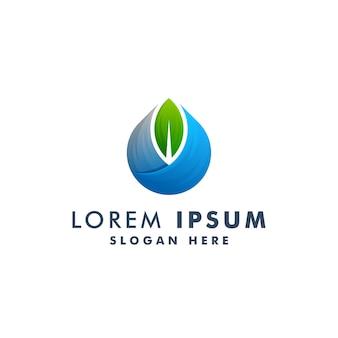Дизайн логотипа воды и листьев. природа значок символ иллюстрация