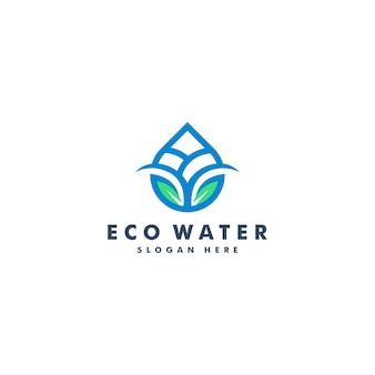 水と葉のロゴのデザイン。自然のロゴタイプ