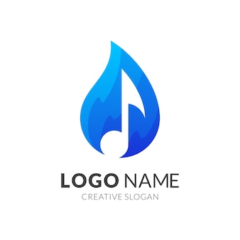 水と音楽のロゴデザイン、グラデーションブルーのモダンなロゴスタイル