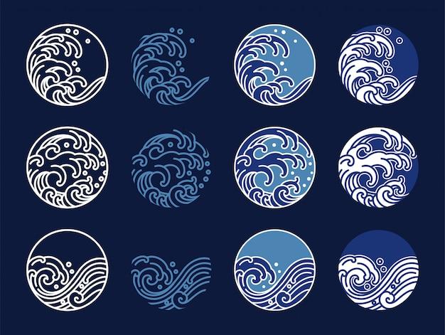 물과 바다 물결 라인 아트 로고 벡터 일러스트. 동양 스타일의 그래픽 디자인. 프리미엄 벡터