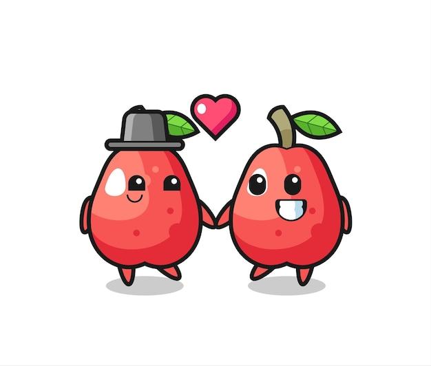 恋に落ちるジェスチャー、tシャツ、ステッカー、ロゴ要素のかわいいスタイルのデザインと水りんご漫画のキャラクターのカップル