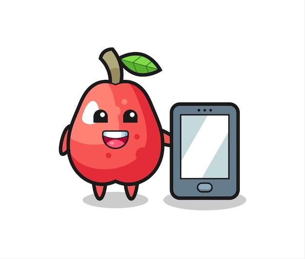 스마트폰을 들고 있는 물 사과 그림 만화, 티셔츠, 스티커, 로고 요소를 위한 귀여운 스타일 디자인