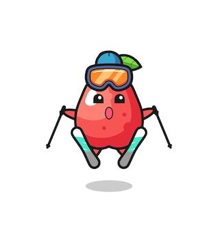 스키 선수로서의 물 사과 마스코트 캐릭터, 티셔츠, 스티커, 로고 요소를 위한 귀여운 스타일 디자인