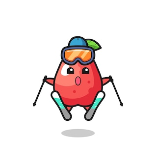 Water apple mascot character as a ski player , cute style design for t shirt, sticker, logo element