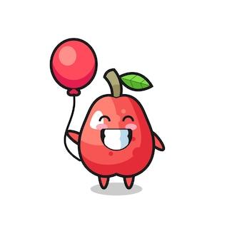 Иллюстрация талисмана водяного яблока играет на воздушном шаре, милый стиль дизайна для футболки, наклейки, элемента логотипа