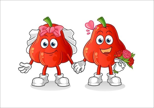 Водное яблоко свадебный мультфильм, изолированные на белом фоне