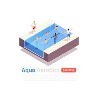 Water aqua aerobics group fitness lesson isometric composition illustration