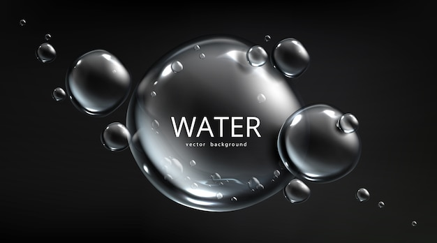 Water background, air bubbles on black backdrop with aqua spheres. save planet resources and ecology protection concept with liquid mercury balls or drops, realistic 3d template for advertising