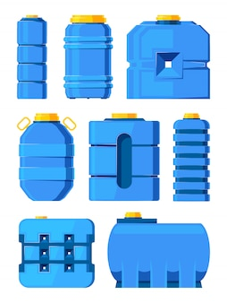 Water barrels. different water tanks isolated