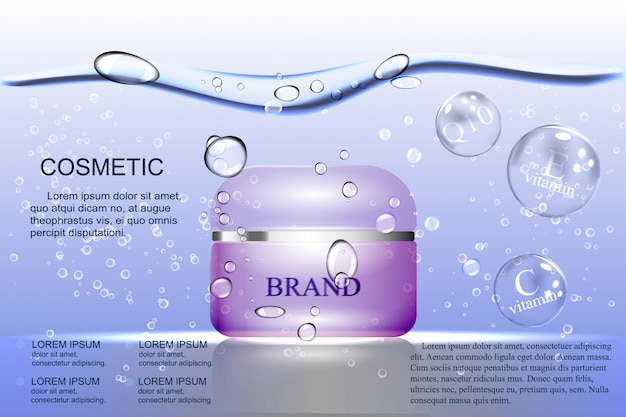 The water based cream, purple bubble on the background of water and air bubbles.