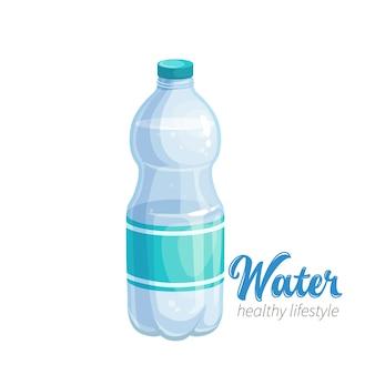 Значок бутылки с водой. illustraion для пропаганды здорового образа жизни