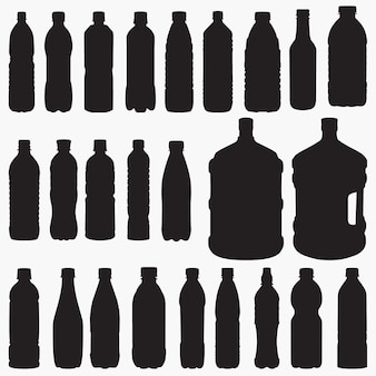 Water bottle silhouettes set
