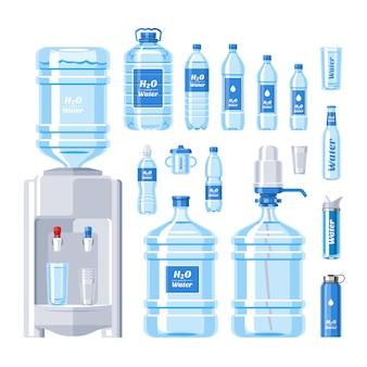 Бутылка воды пить воду aqua разлитой в бутылки в пластиковом контейнере иллюстрации набор охладителя воды в бутылках, изолированных на белом фоне