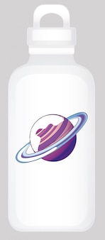 Water bottle with planet